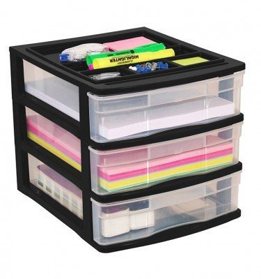Clear Desktop 3 Drawer With Storage Tray - Black