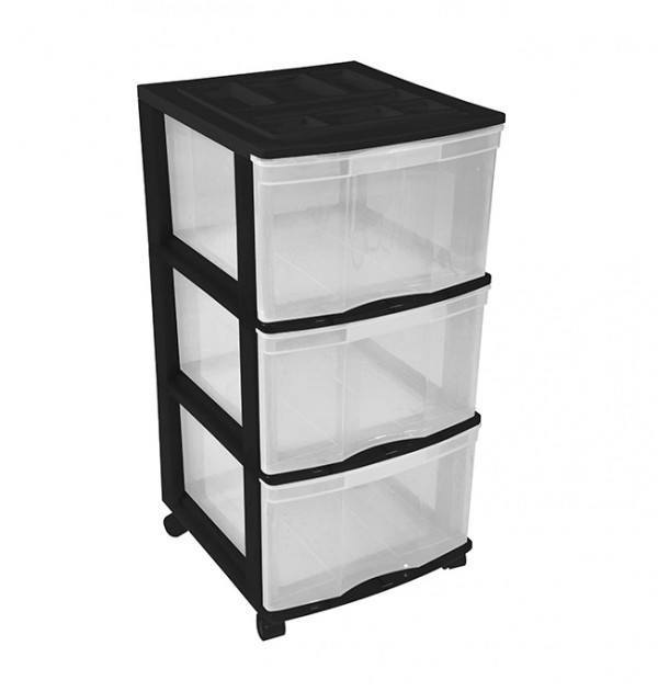 Clear Floor 3 Drawer Storage With Top Tray & Wheels - Black