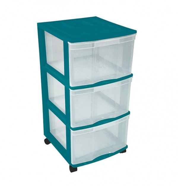 Clear Floor 3 Drawer Storage With Top Tray & Wheels - Green