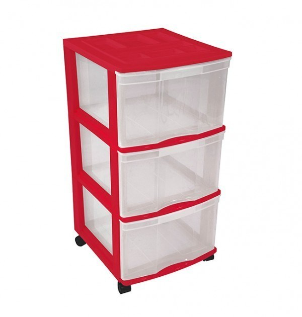 Clear Floor 3 Drawer Storage With Top Tray & Wheels - Red