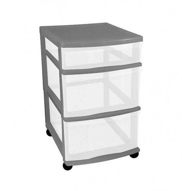 Clear Floor 3 Drawer Storage With Wheels - Grey