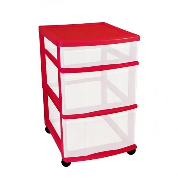 Clear Floor 3 Drawer Storage With Wheels - Red