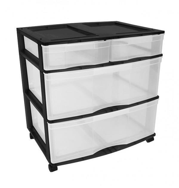 Clear Floor 4 Drawer Storage With Top Tray & Wheels - Black