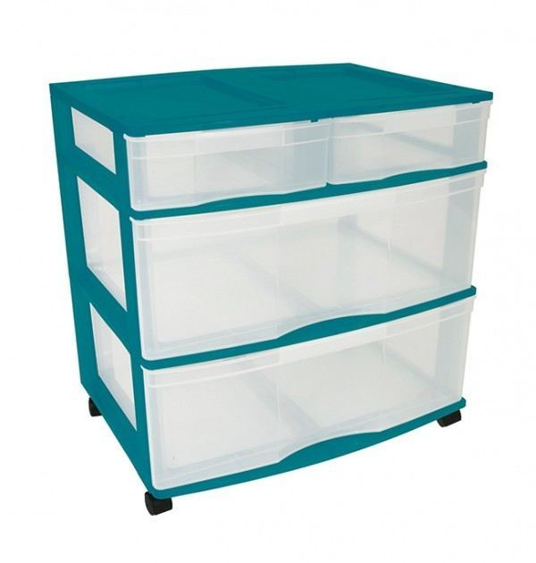 Clear Floor 4 Drawer Storage With Top Tray & Wheels - Green
