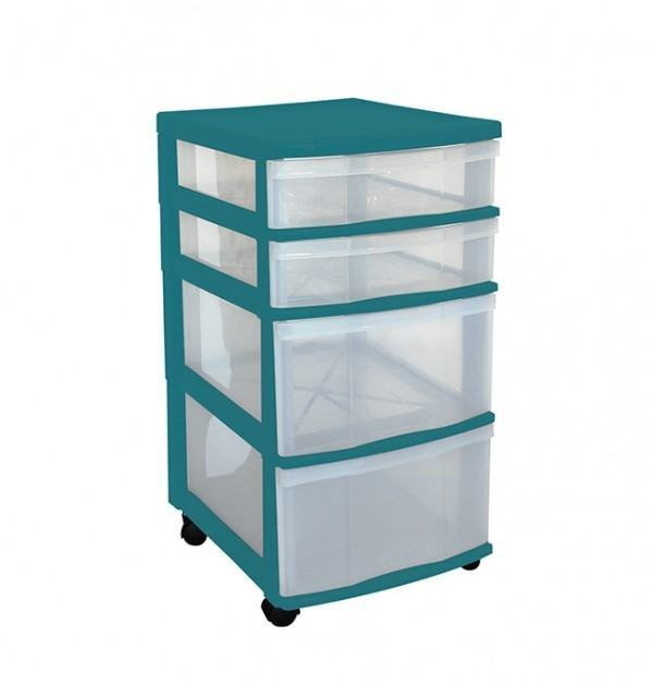Clear Floor 4 Drawer Storage With Wheels - Green