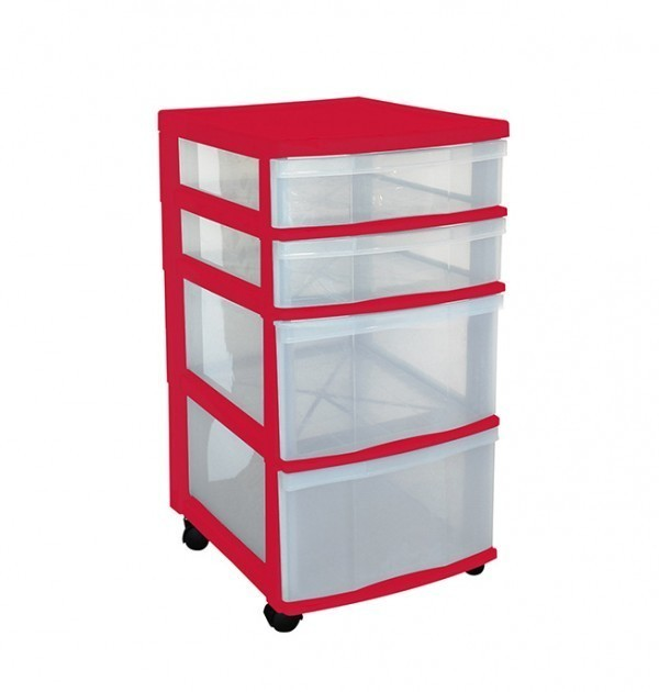 Clear Floor 4 Drawer Storage With Wheels - Red