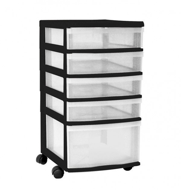 Clear Floor 5 Drawer Storage With Wheels - Black