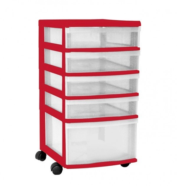 Clear Floor 5 Drawer Storage With Wheels - Red