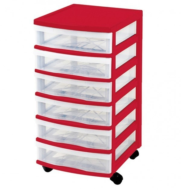 Clear Floor 6 Drawer Storage With Wheels - Red
