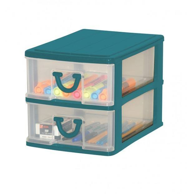 Clear Nic Nack 2 Drawer - Green