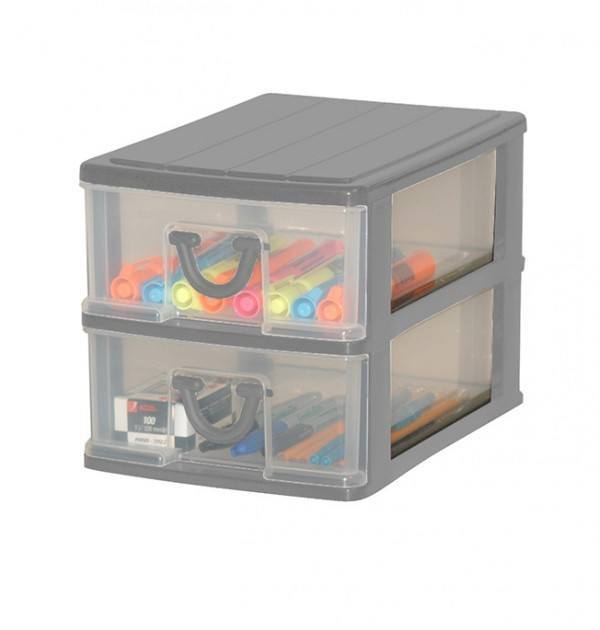 Clear Nic Nack 2 Drawer - Grey