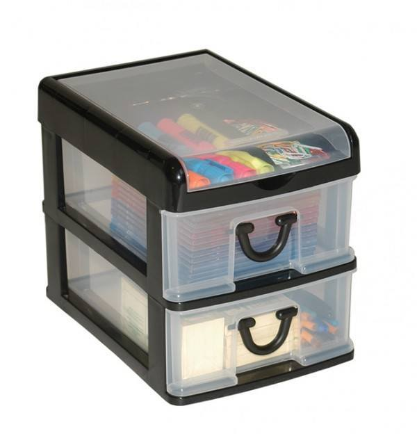 Clear Nic Nack 2 Drawer With Hinged Lid - Black
