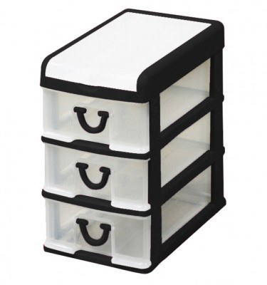 Clear Nic Nack 3 Drawer With Hinged Lid - Black