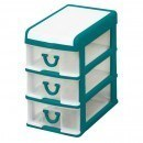 Clear Nic Nack 3 Drawer With Hinged Lid - Green