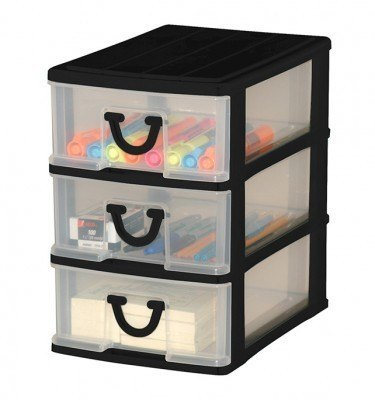 Clear Nick-nack 3 Drawer - Black
