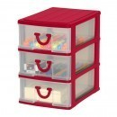 Clear Nick-nack 3 Drawer - Red