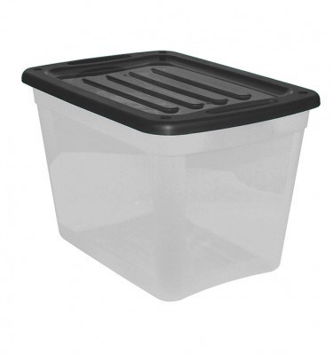 Clear Storage Bin - Black