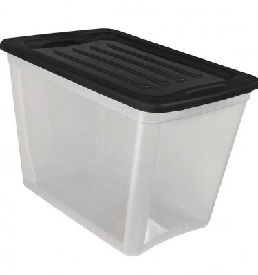 Clear Storage Bin Large Size - Black