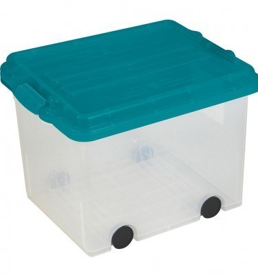Clear Storage Bin Large Size Locking Lid w: Wheels - Green