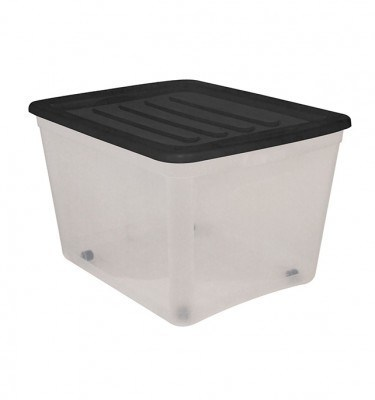 Clear Storage Bin Large Size w: Wheels - Black