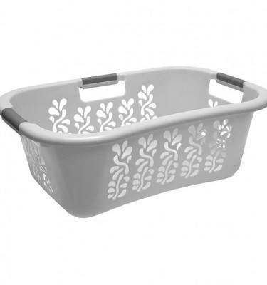 White Laundry Basket 3 Handle Filigri Pattern